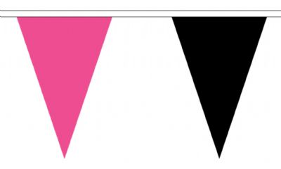 PINK AND BLACK - TRIANGULAR BUNTING 5 metres 12 Flags